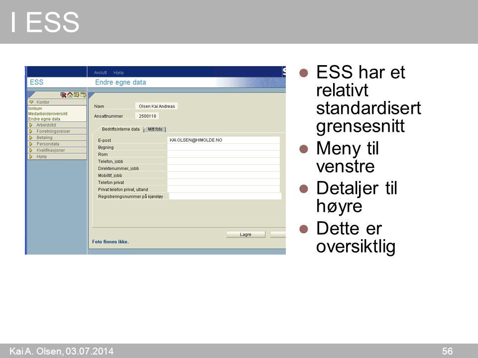 I ESS ESS har et relativt standardisert grensesnitt Meny til venstre