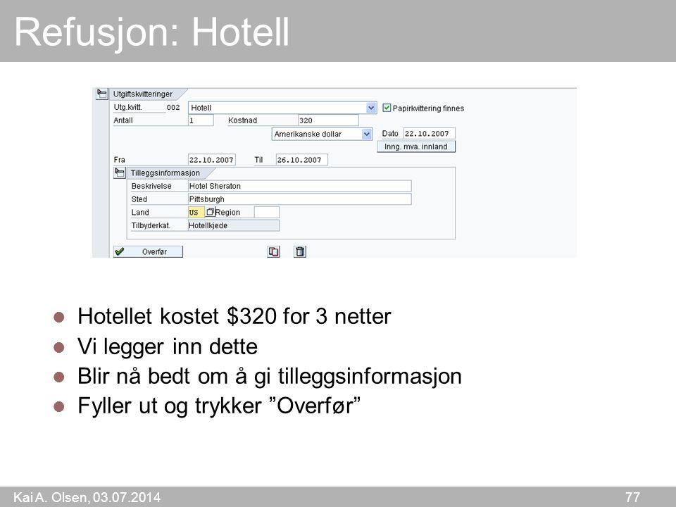 Refusjon: Hotell Hotellet kostet $320 for 3 netter Vi legger inn dette