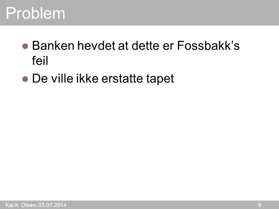 Problem Banken hevdet at dette er Fossbakk's feil