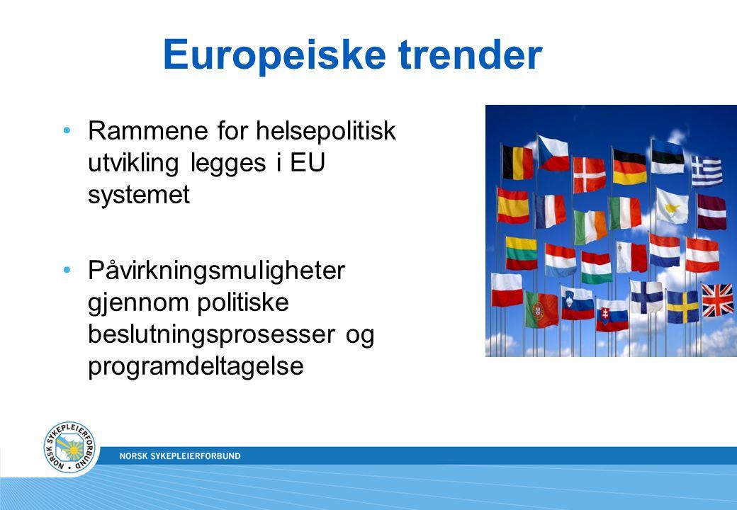 Europeiske trender Rammene for helsepolitisk utvikling legges i EU systemet.