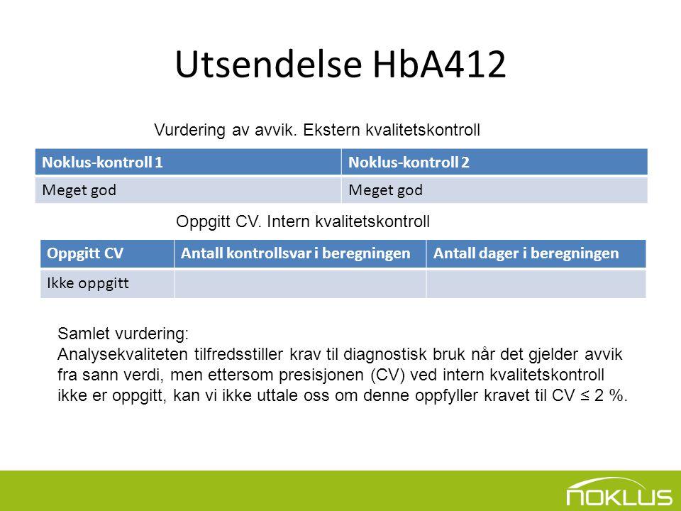 Utsendelse HbA412 Vurdering av avvik. Ekstern kvalitetskontroll