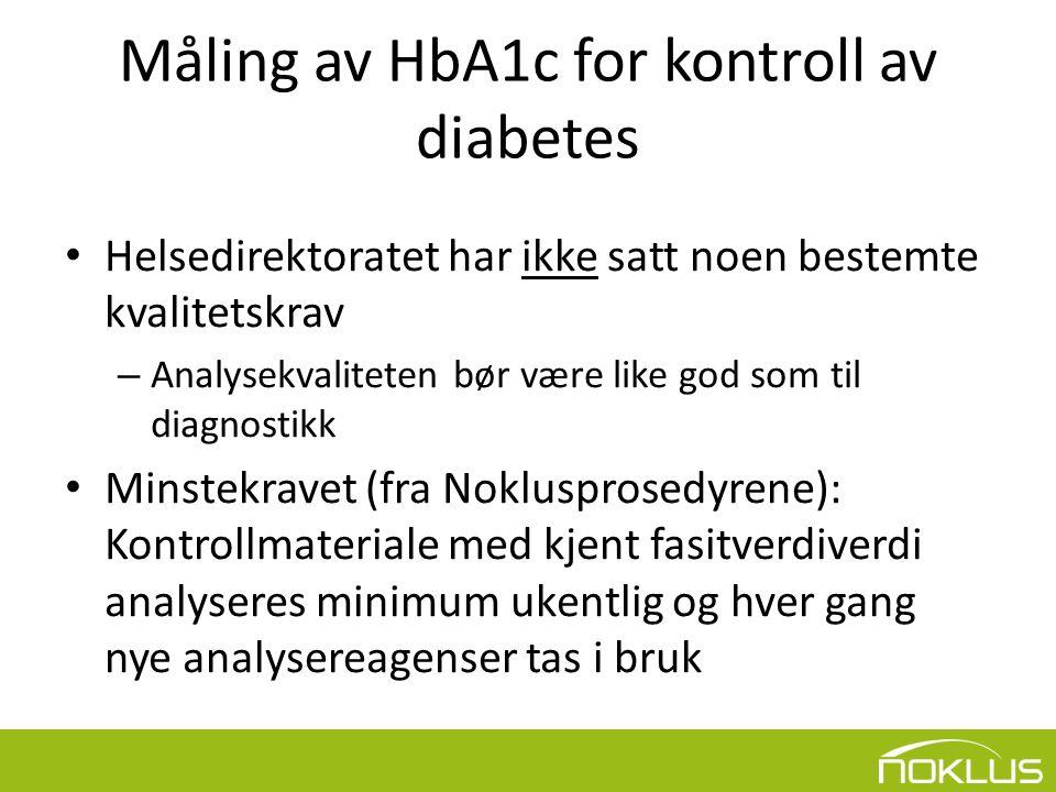 Måling av HbA1c for kontroll av diabetes