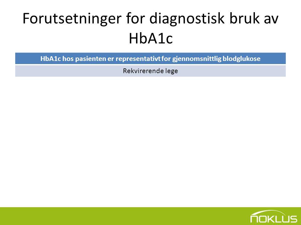 Forutsetninger for diagnostisk bruk av HbA1c