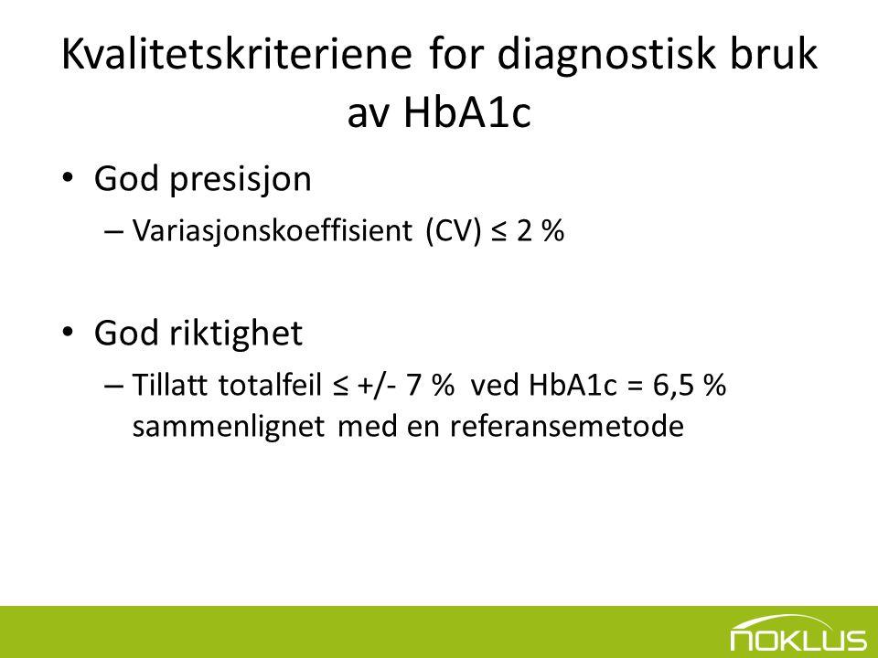 Kvalitetskriteriene for diagnostisk bruk av HbA1c