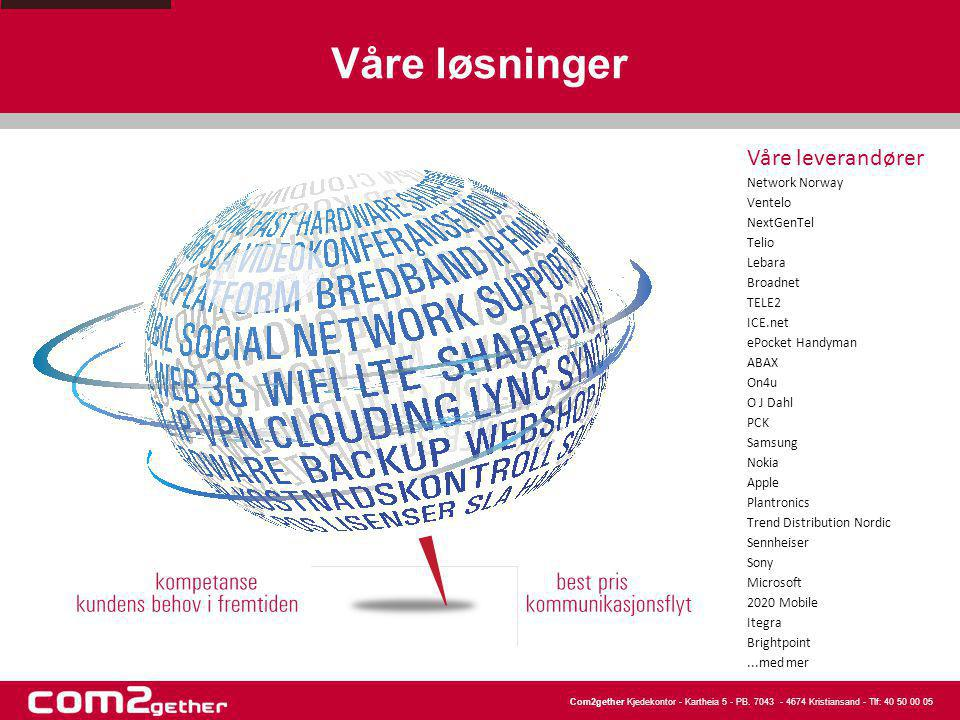 Våre løsninger Våre leverandører Network Norway Ventelo NextGenTel