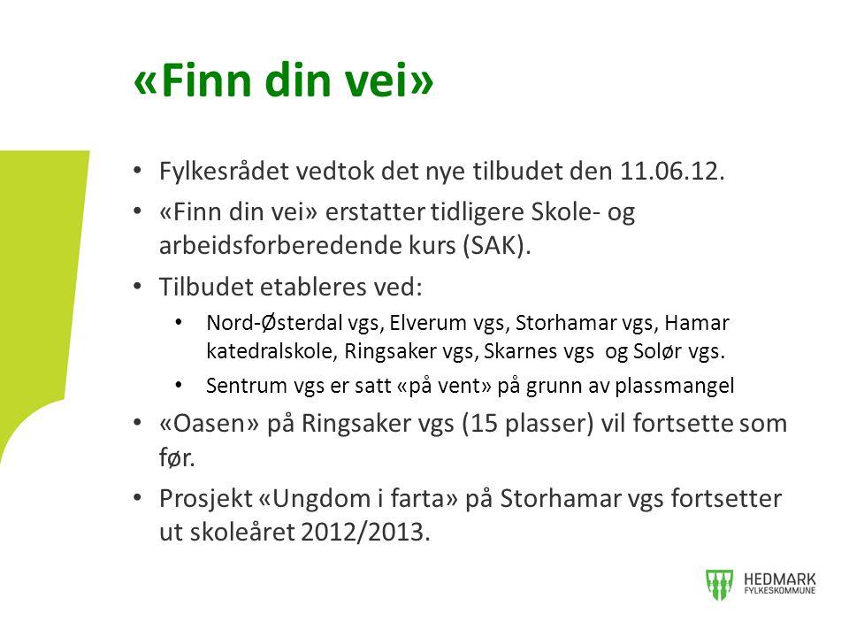 «Finn din vei» Fylkesrådet vedtok det nye tilbudet den 11.06.12.