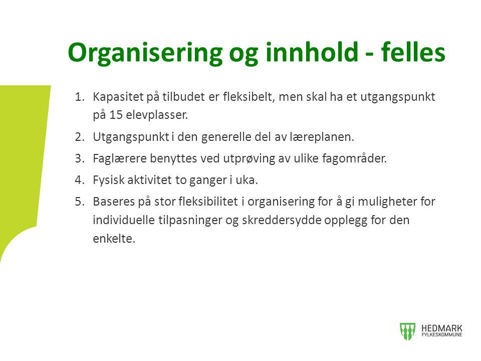 Organisering og innhold - felles