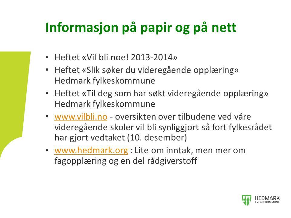 Informasjon på papir og på nett