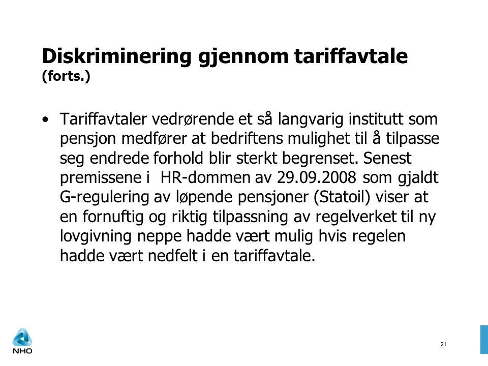 Diskriminering gjennom tariffavtale (forts.)