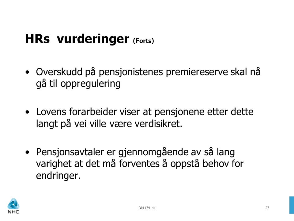 HRs vurderinger (Forts)