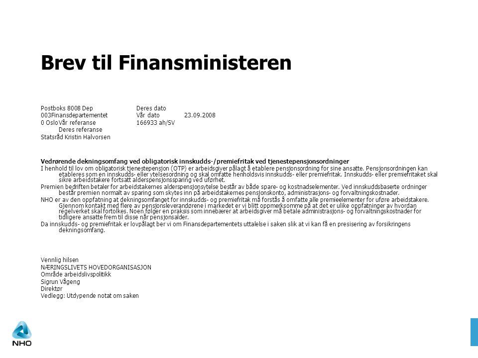 Brev til Finansministeren