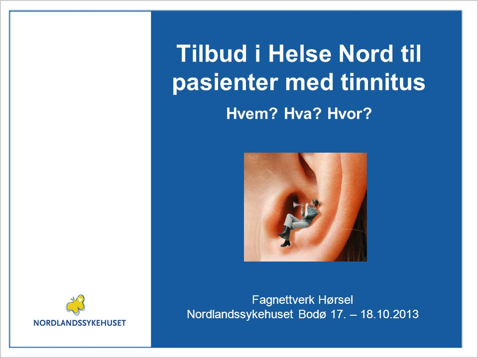 Tilbud i Helse Nord til pasienter med tinnitus Hvem Hva Hvor