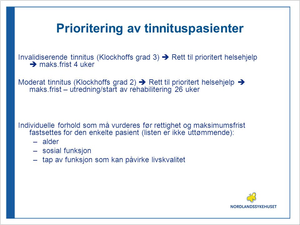 Prioritering av tinnituspasienter