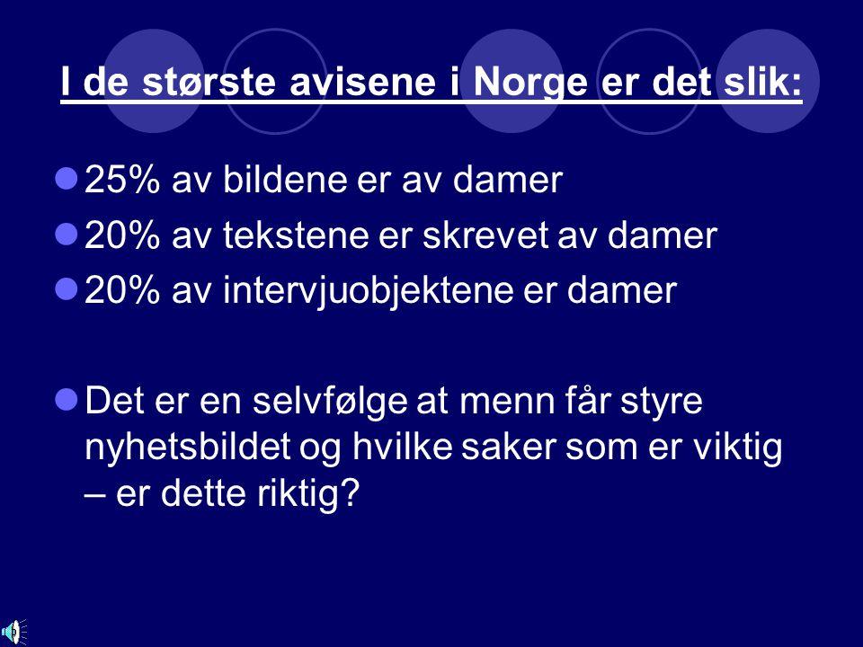 I de største avisene i Norge er det slik: