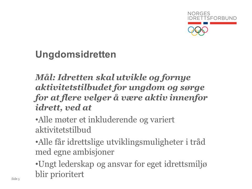 Ungdomsidretten Mål: Idretten skal utvikle og fornye aktivitetstilbudet for ungdom og sørge for at flere velger å være aktiv innenfor idrett, ved at.