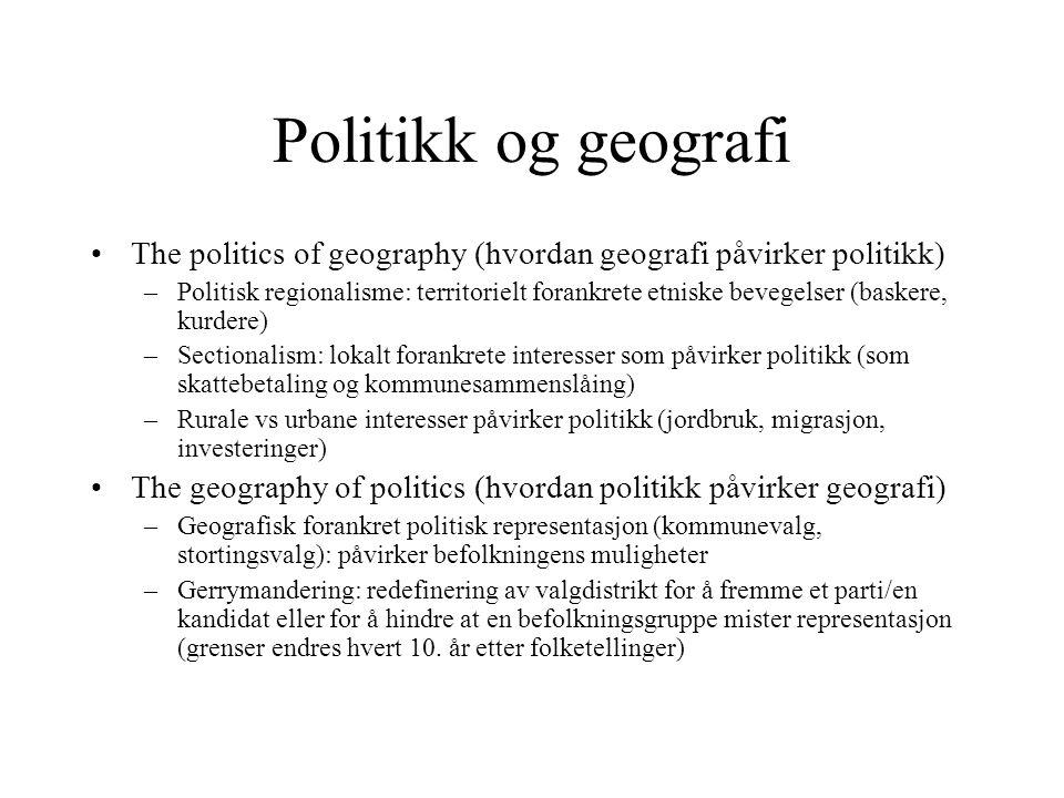 Politikk og geografi The politics of geography (hvordan geografi påvirker politikk)
