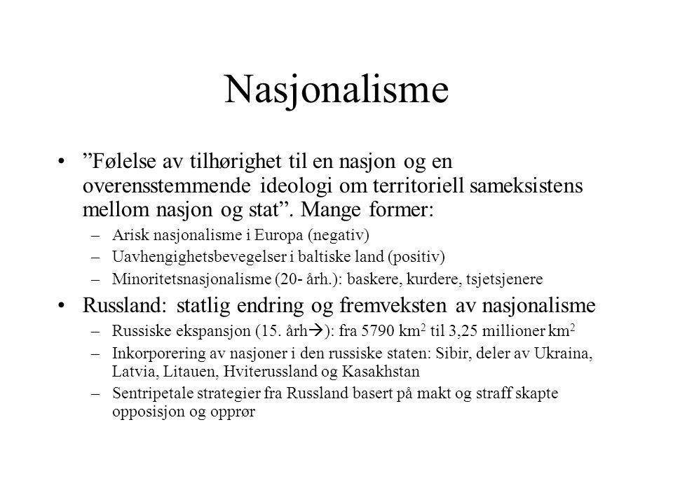 Nasjonalisme Følelse av tilhørighet til en nasjon og en overensstemmende ideologi om territoriell sameksistens mellom nasjon og stat . Mange former:
