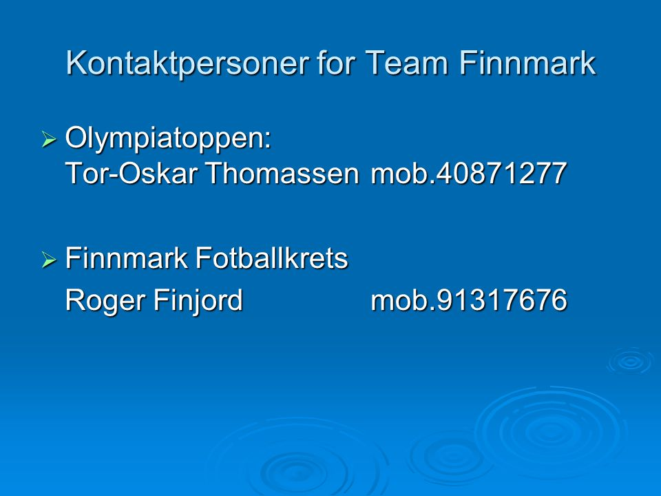 Kontaktpersoner for Team Finnmark