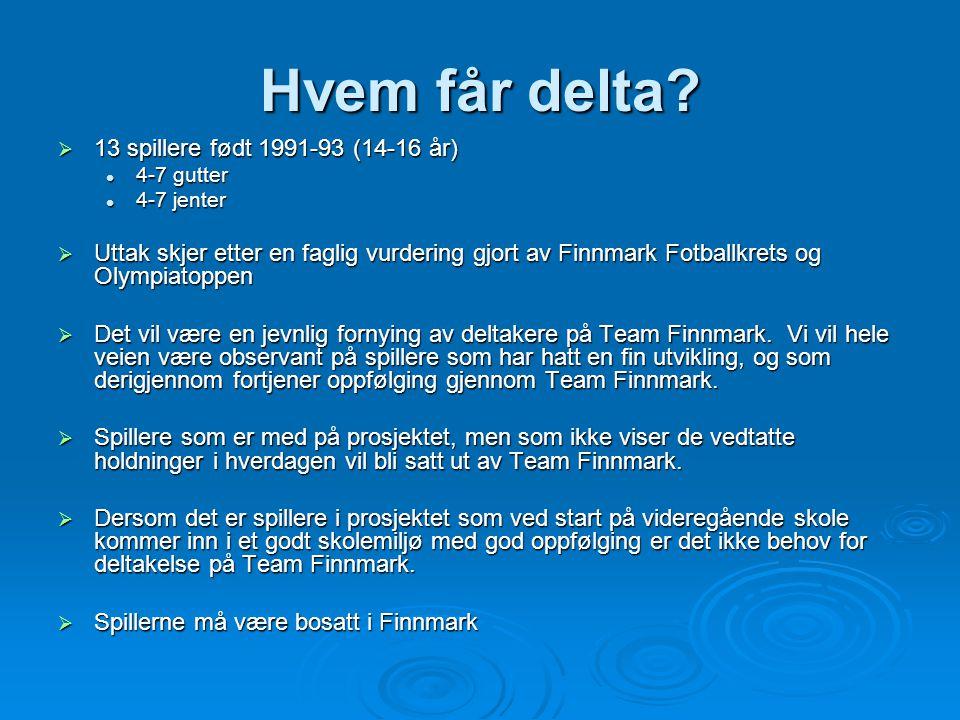 Hvem får delta 13 spillere født 1991-93 (14-16 år)