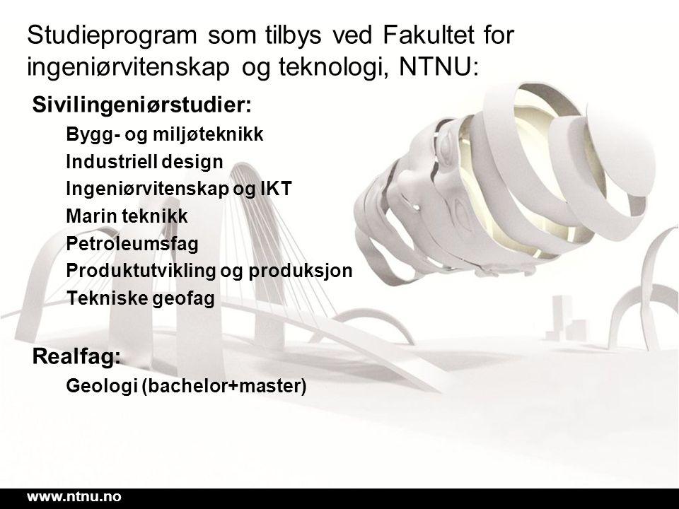 Studieprogram som tilbys ved Fakultet for ingeniørvitenskap og teknologi, NTNU: