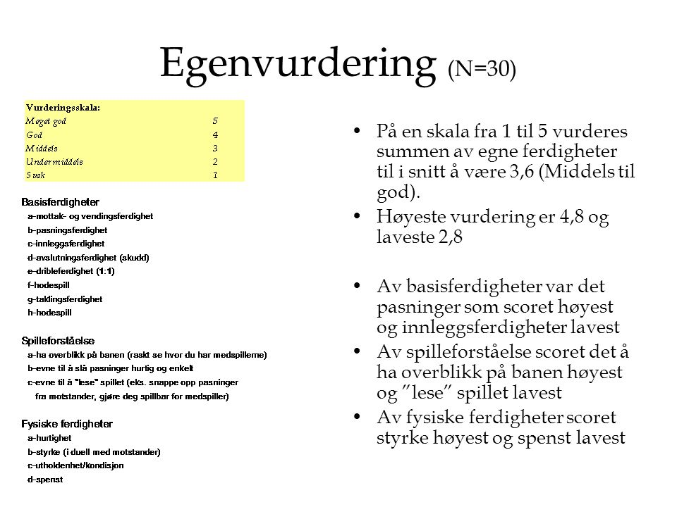 Egenvurdering (N=30) På en skala fra 1 til 5 vurderes summen av egne ferdigheter til i snitt å være 3,6 (Middels til god).