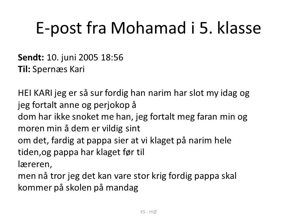 E-post fra Mohamad i 5. klasse