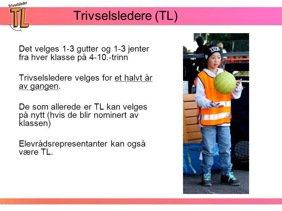 Trivselsledere (TL) Det velges 1-3 gutter og 1-3 jenter fra hver klasse på 4-10.-trinn. Trivselsledere velges for et halvt år av gangen.