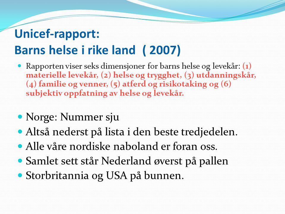 Unicef-rapport: Barns helse i rike land ( 2007)