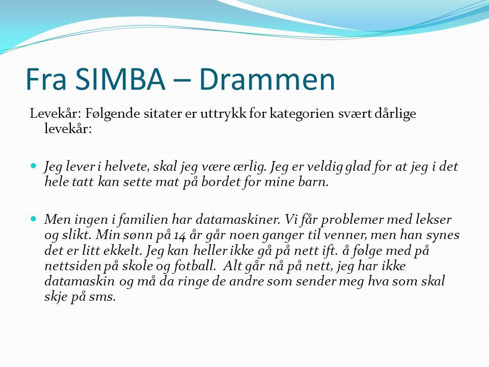 Fra SIMBA – Drammen Levekår: Følgende sitater er uttrykk for kategorien svært dårlige levekår:
