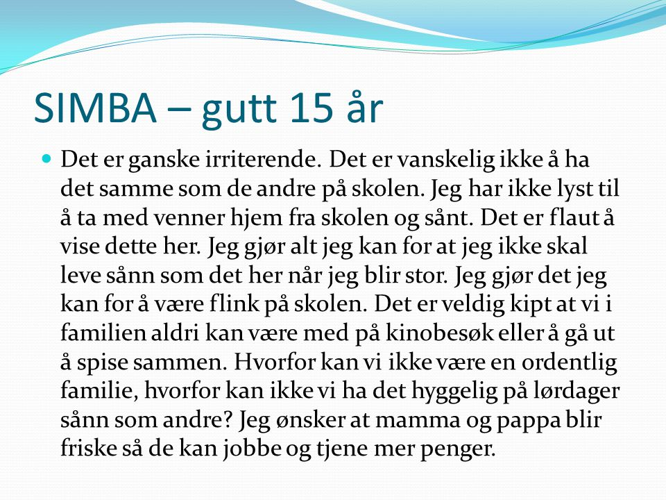 SIMBA – gutt 15 år