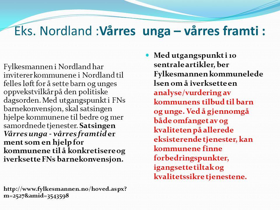 Eks. Nordland :Vårres unga – vårres framti :