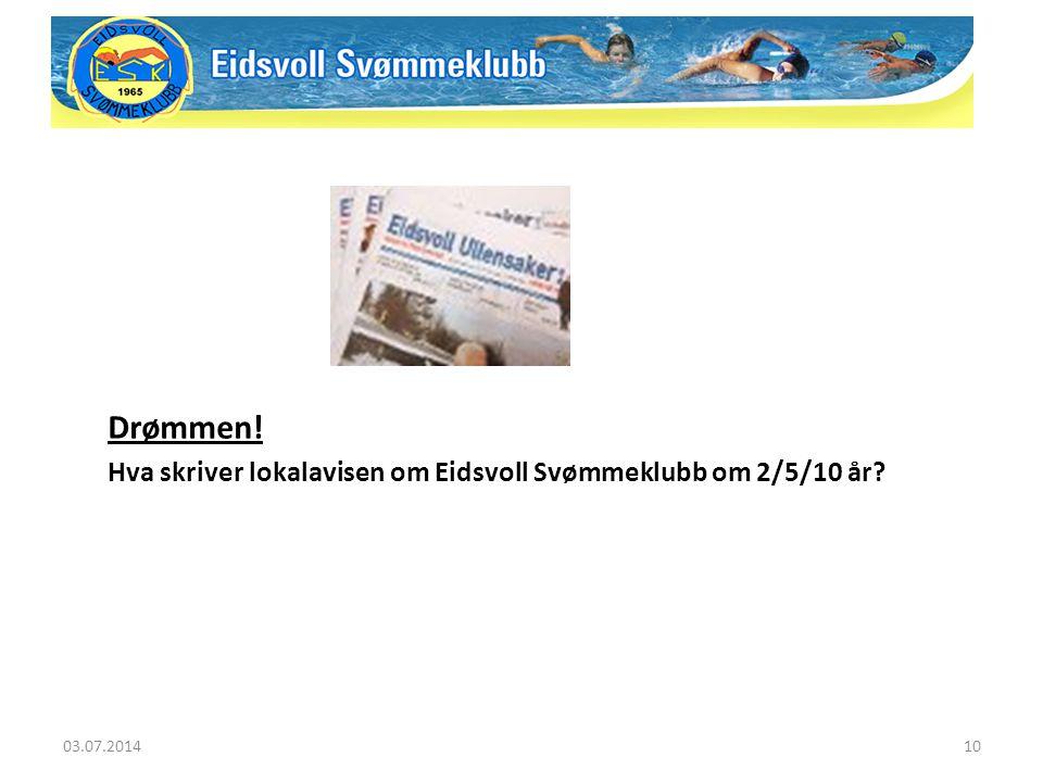 Drømmen! Hva skriver lokalavisen om Eidsvoll Svømmeklubb om 2/5/10 år