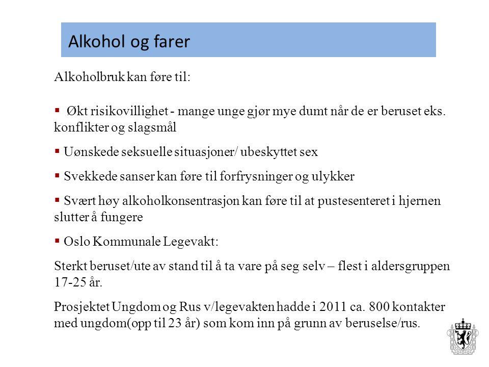 Alkohol og farer Alkoholbruk kan føre til: