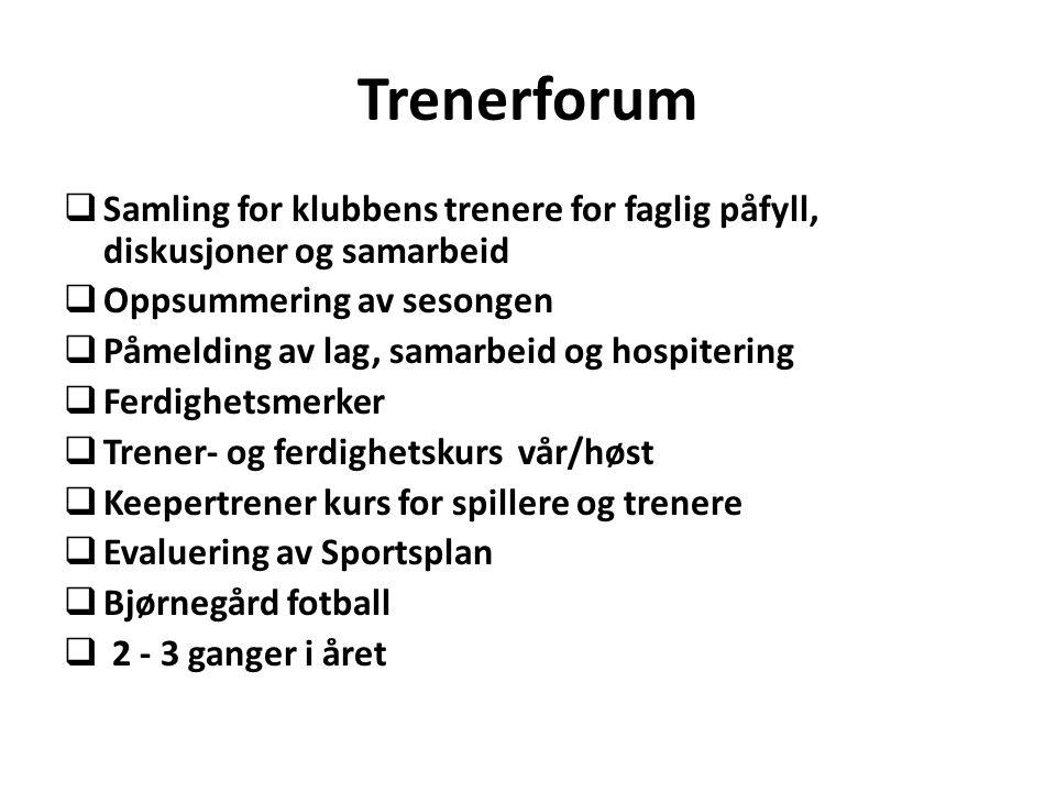 Trenerforum Samling for klubbens trenere for faglig påfyll, diskusjoner og samarbeid. Oppsummering av sesongen.
