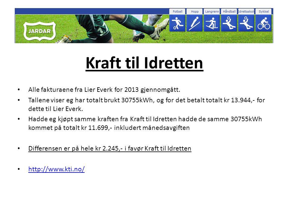 Kraft til Idretten Alle fakturaene fra Lier Everk for 2013 gjennomgått.
