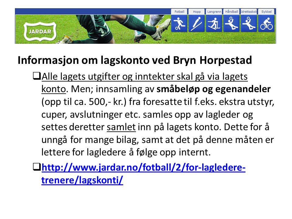 Informasjon om lagskonto ved Bryn Horpestad