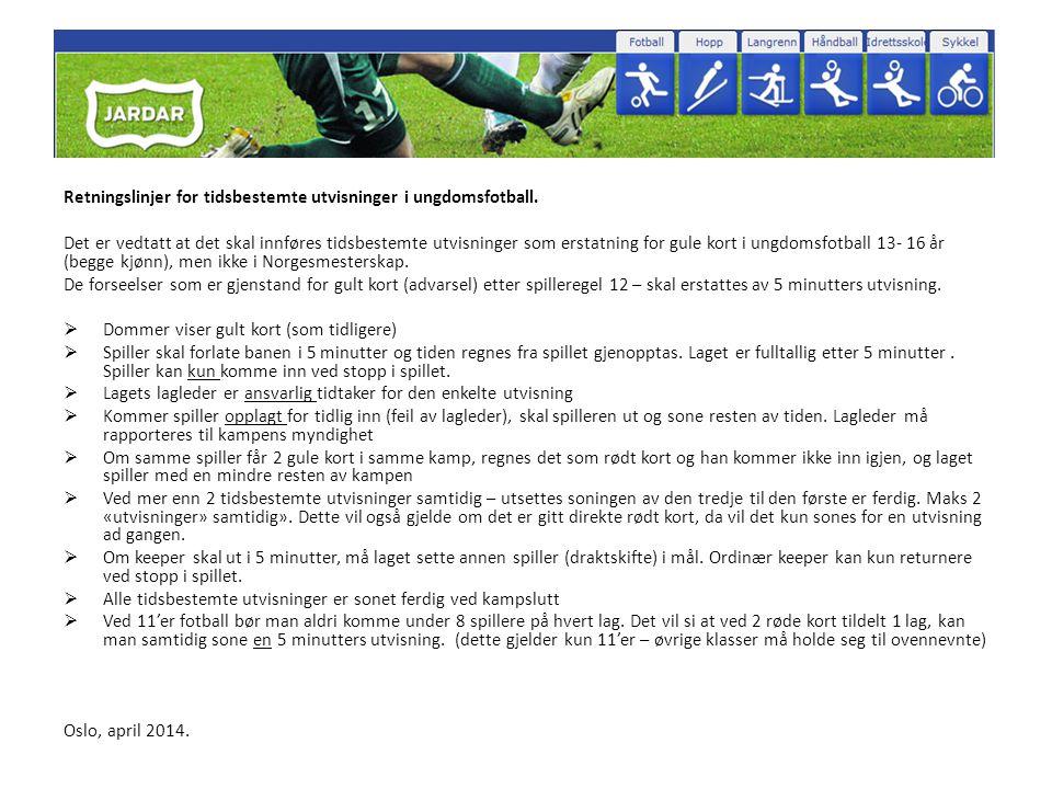 Retningslinjer for tidsbestemte utvisninger i ungdomsfotball.