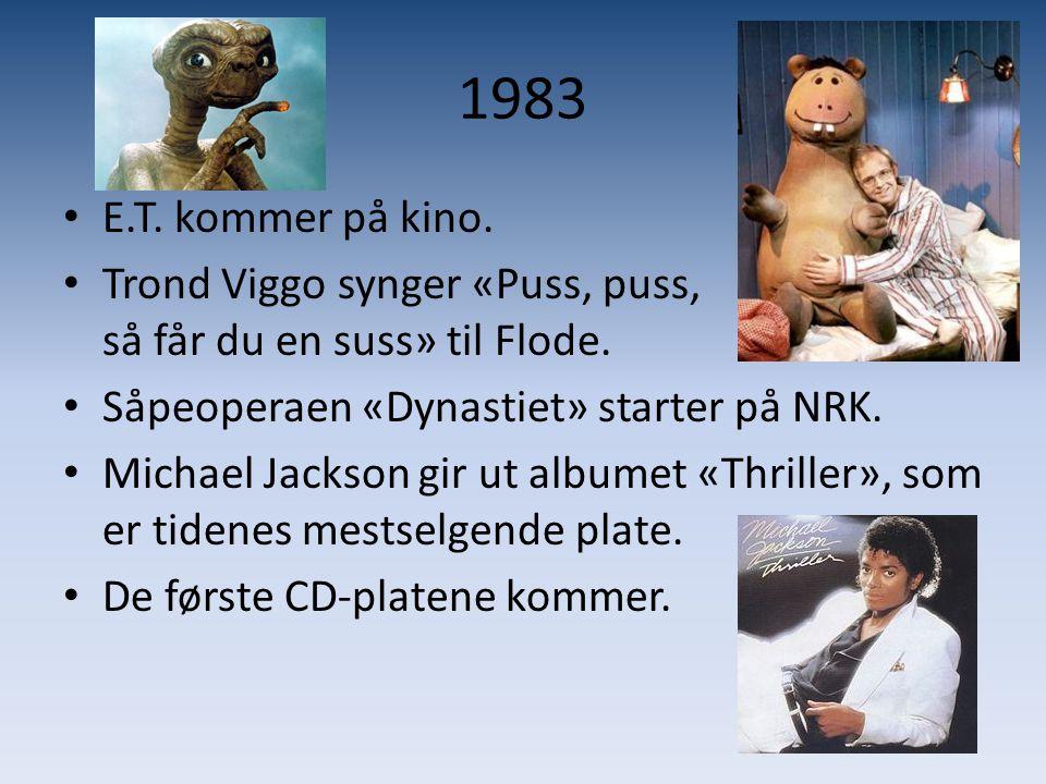 1983 E.T. kommer på kino. Trond Viggo synger «Puss, puss, så får du en suss» til Flode.