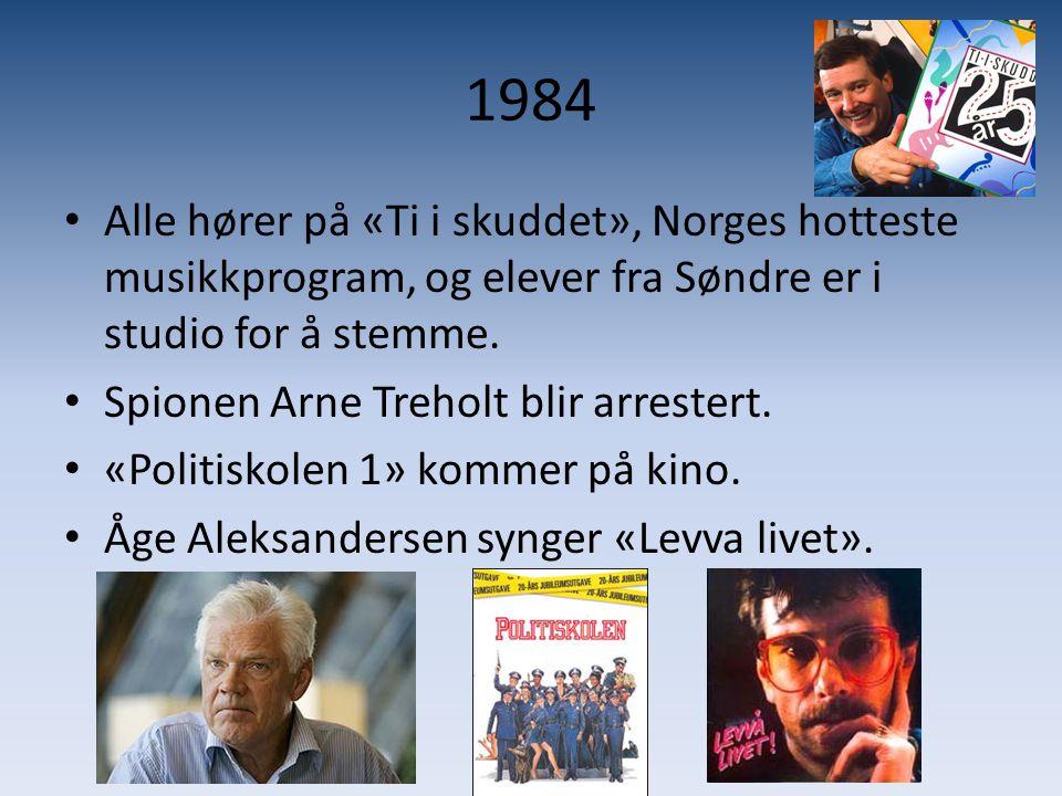 1984 Alle hører på «Ti i skuddet», Norges hotteste musikkprogram, og elever fra Søndre er i studio for å stemme.