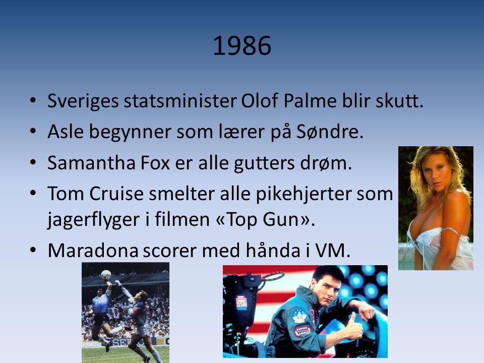 1986 Sveriges statsminister Olof Palme blir skutt.