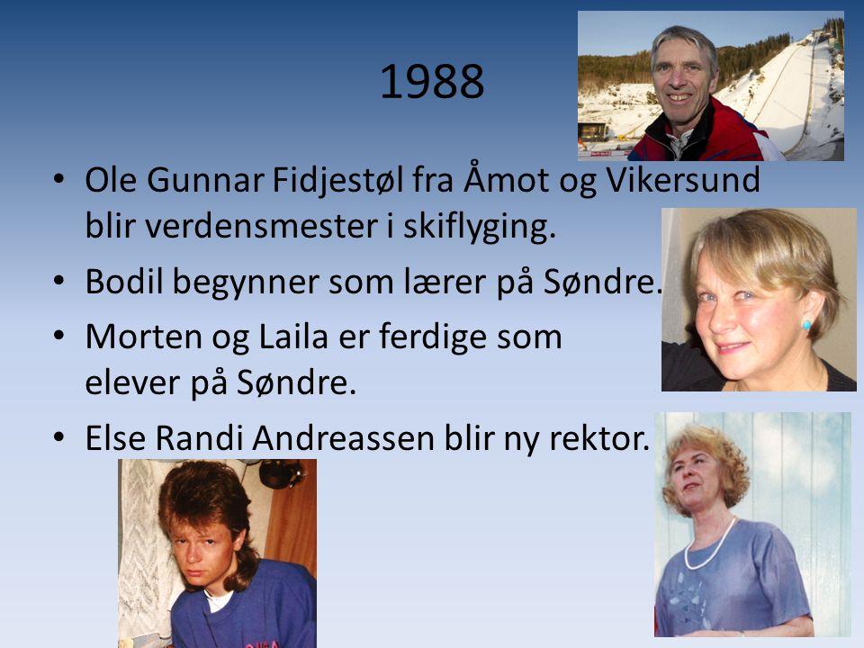 1988 Ole Gunnar Fidjestøl fra Åmot og Vikersund blir verdensmester i skiflyging. Bodil begynner som lærer på Søndre.