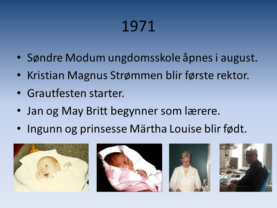 1971 Søndre Modum ungdomsskole åpnes i august.