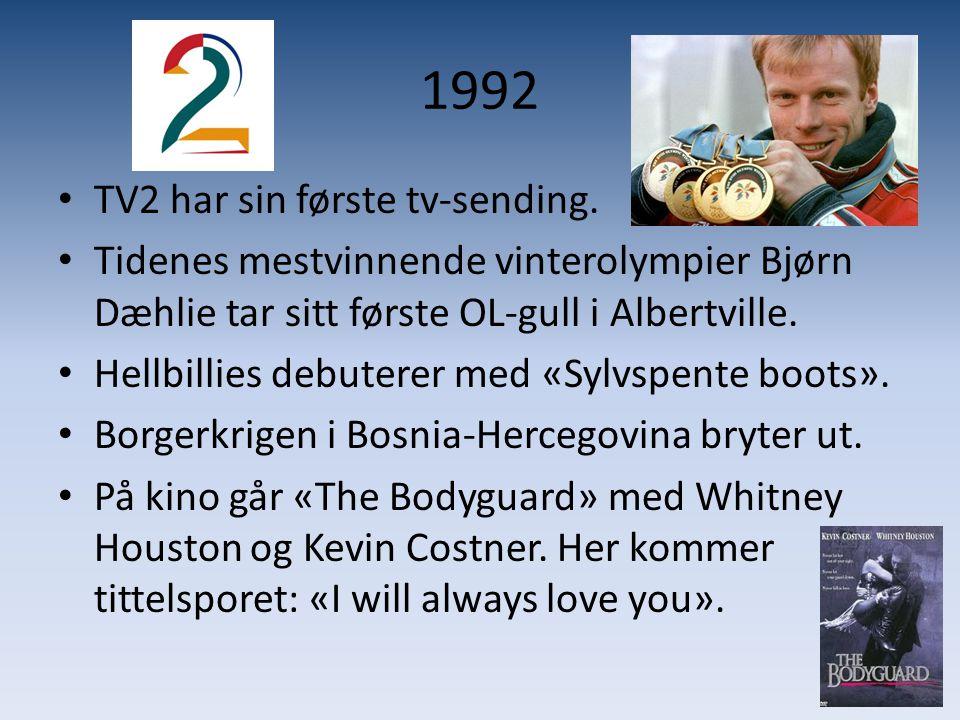 1992 TV2 har sin første tv-sending.