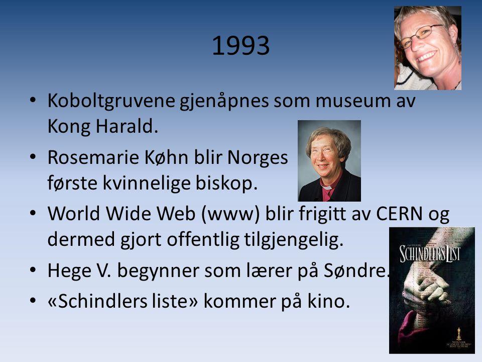 1993 Koboltgruvene gjenåpnes som museum av Kong Harald.