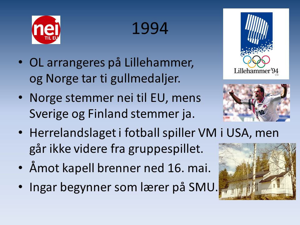 1994 OL arrangeres på Lillehammer, og Norge tar ti gullmedaljer.