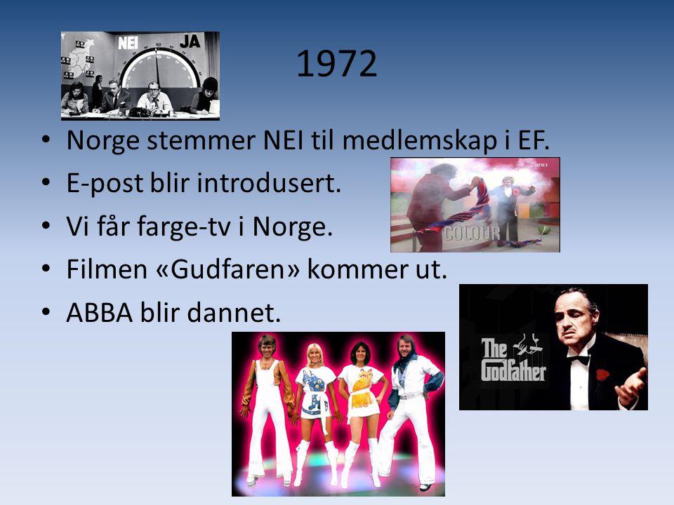 1972 Norge stemmer NEI til medlemskap i EF. E-post blir introdusert.