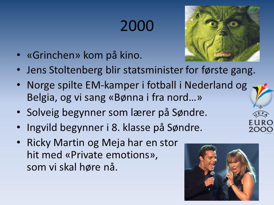 2000 «Grinchen» kom på kino. Jens Stoltenberg blir statsminister for første gang.