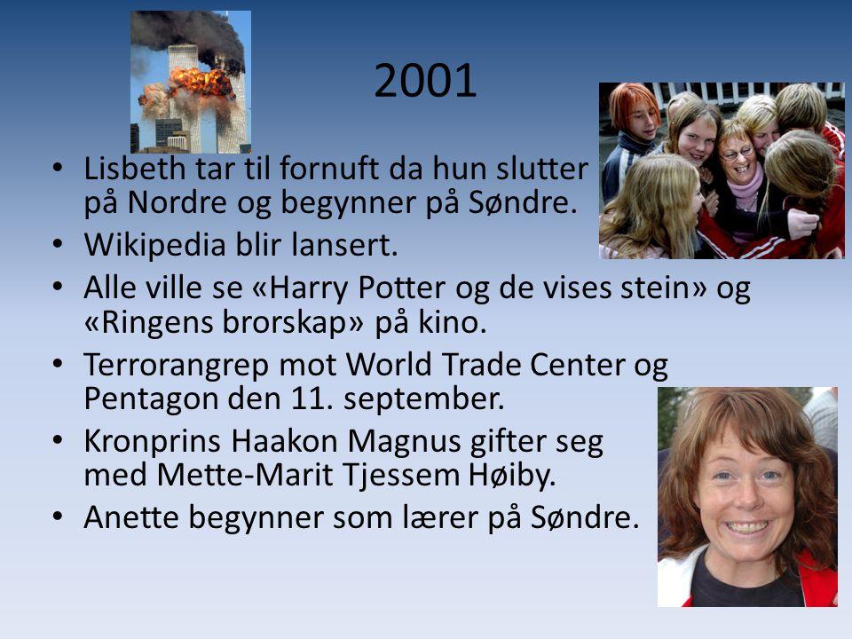 2001 Lisbeth tar til fornuft da hun slutter på Nordre og begynner på Søndre. Wikipedia blir lansert.