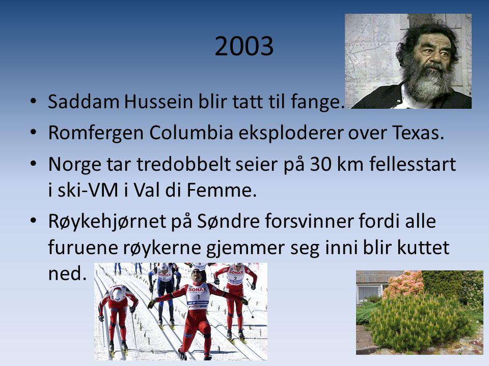 2003 Saddam Hussein blir tatt til fange.