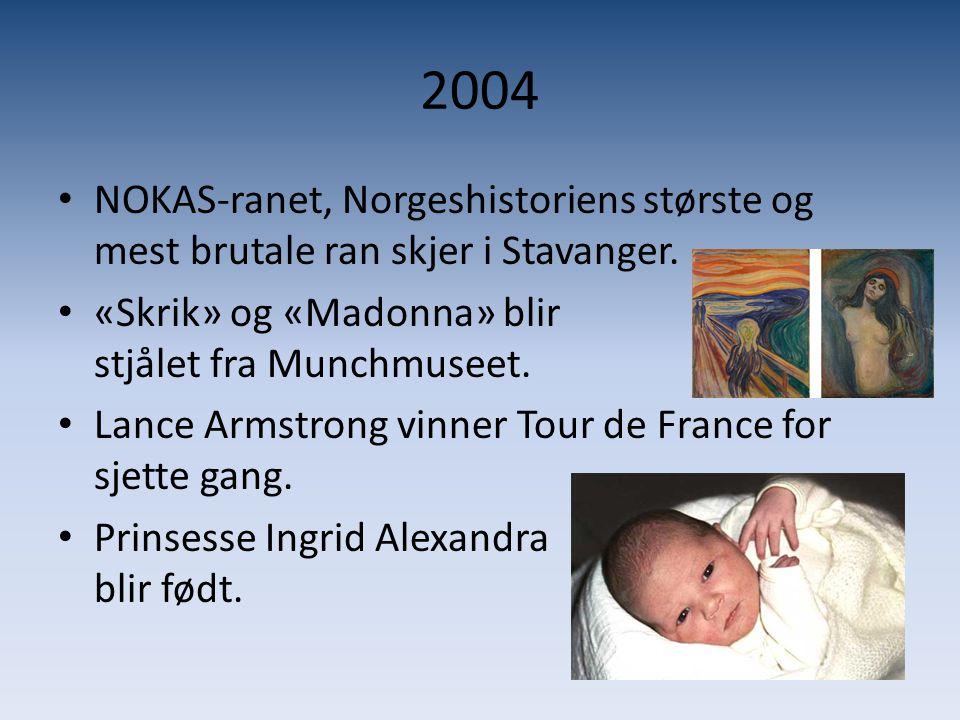 2004 NOKAS-ranet, Norgeshistoriens største og mest brutale ran skjer i Stavanger.